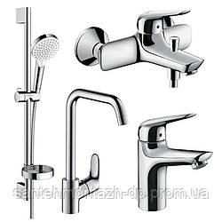 NOVUS набор смесителей для ванны, умывальник 100 + кухня (71030000+71040000+26553400+31820000)