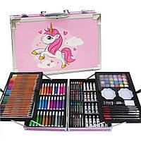 Набор для детского творчества в чемоданчике Единорог Розовый Двухъярусный кейс с красками для рисования