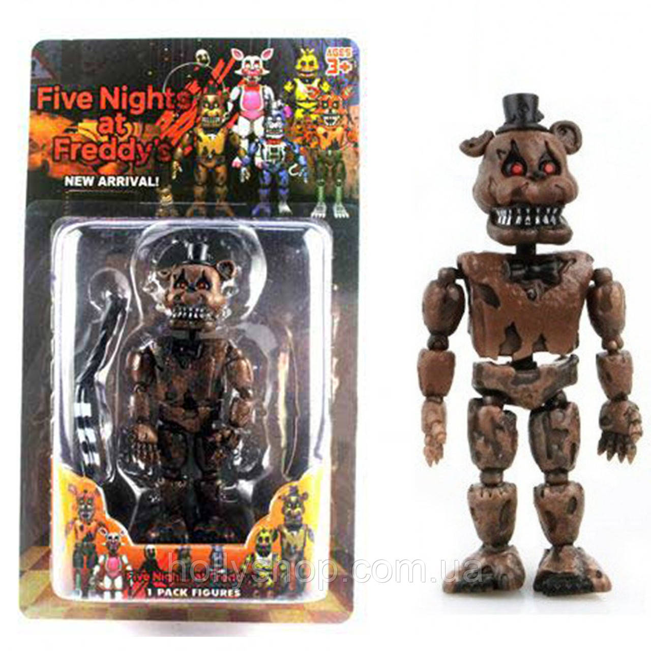 Фігурка кошмарного аніматроніка Фредді з гри П'ять Ночей з Фредді в індивідуальній упаковці ФНаФ 15см