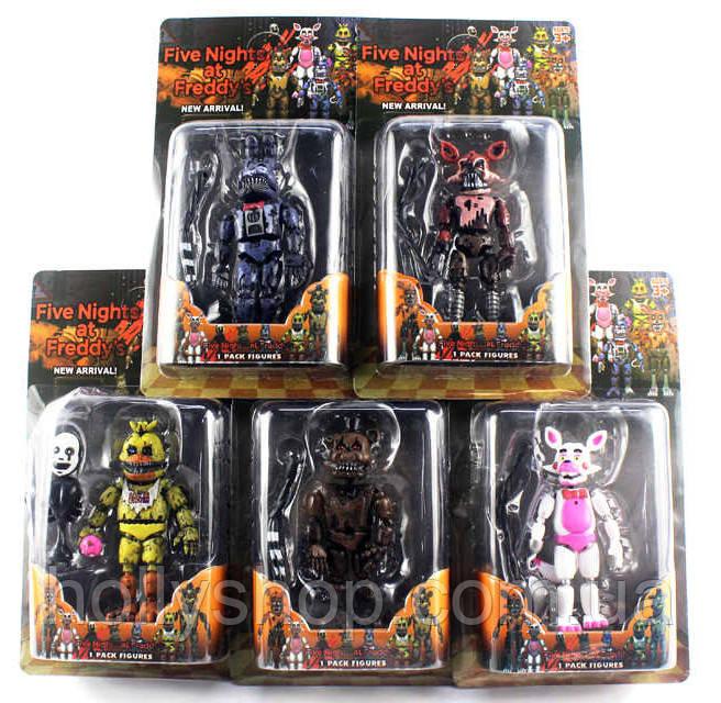 Комплект фігурок Кошмарні Аніматроніки з гри 5 Ночей з Фредді в індивідуальних упаковках ФНаФ 15см