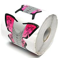 "Формы для наращивания ногтей ""Бабочка"" - рулон 300 шт. (8 * 7,5 см.), фото 1"