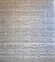 3D панель стінова самоклеюча 700*770*7мм Шпалери під цеглу світло-сіра смужка Самоклейка 3Д