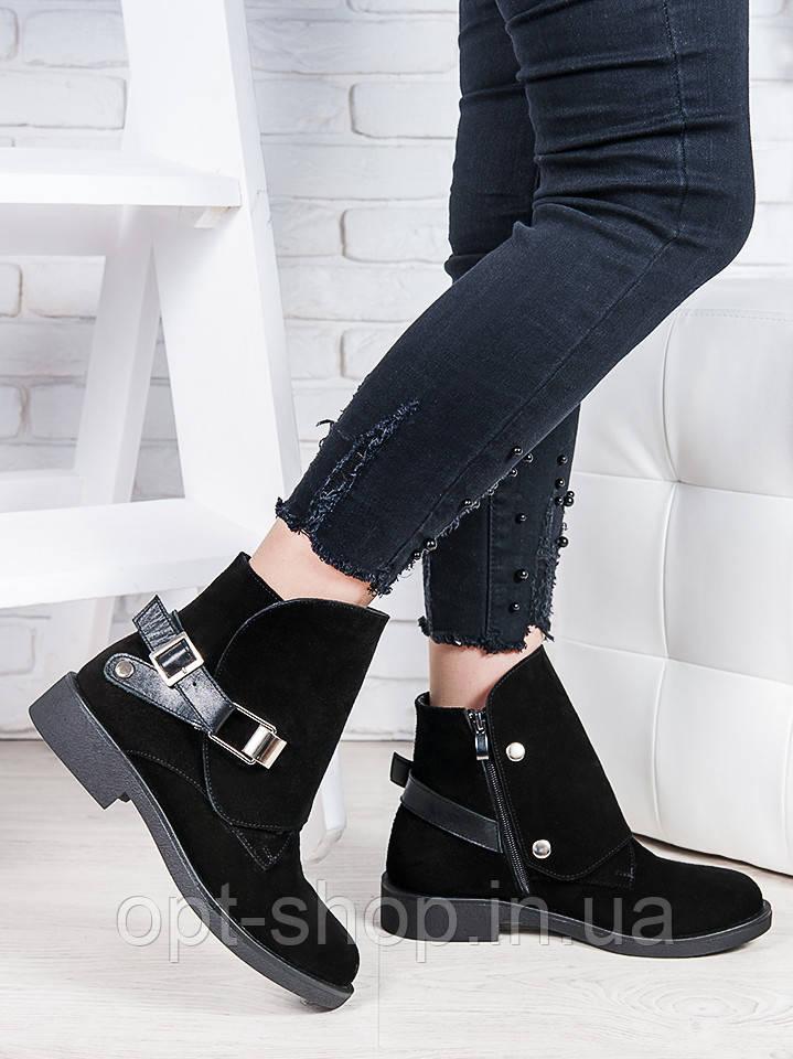 Ботинки Женские демисезонные весенние замшевые кожаные классические на низком ходу (код:W-7179-чк)