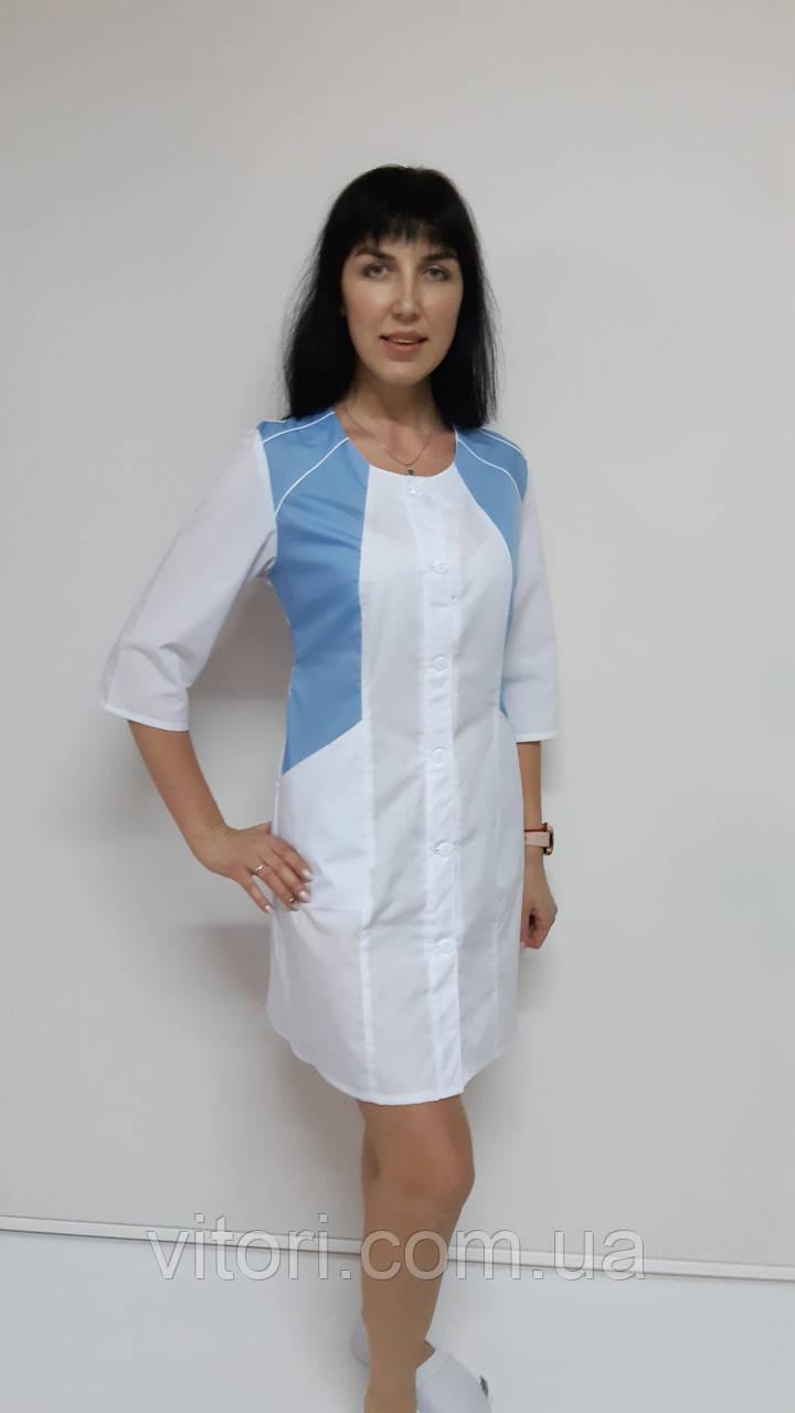 Медичний жіночий халат Ліка бавовна три чверті рукав