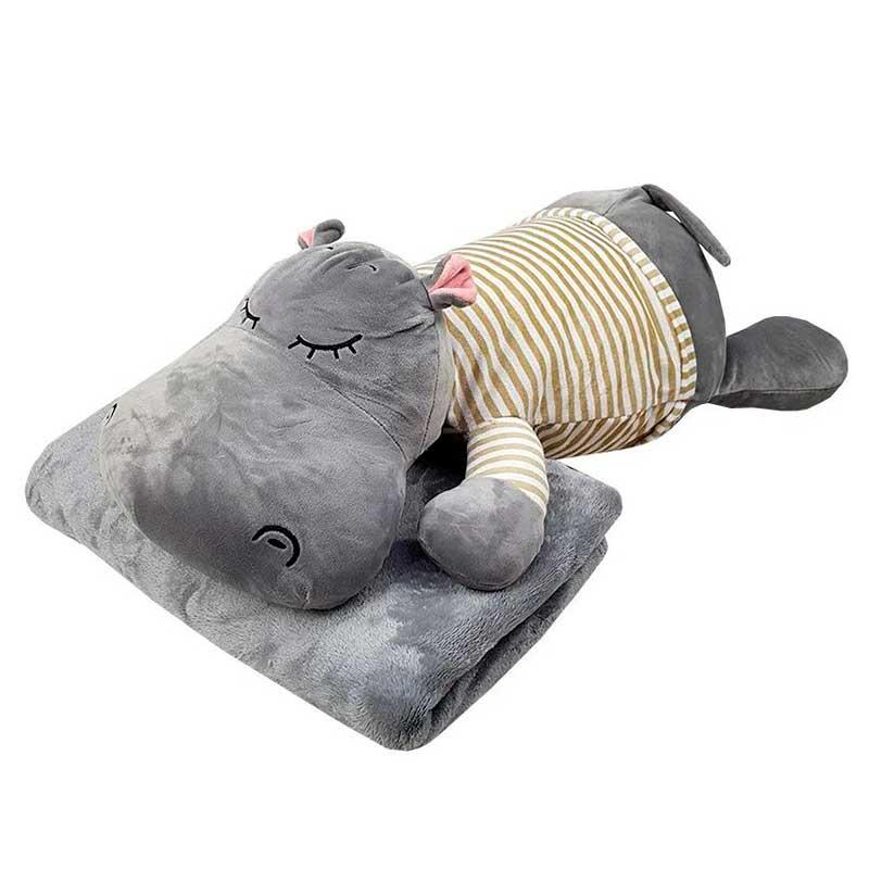 "Мягкая игрушка плед - подушка ""Бегемот"" Серый"