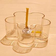 Набор для изготовления чайной свечи Цветочек (прозрачный контейнер чайной свечи, фиксатор фитиля, фитиль)