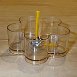 Набор для изготовления чайной свечи Цветочек (прозрачный контейнер чайной свечи, фиксатор фитиля, фитиль), фото 2