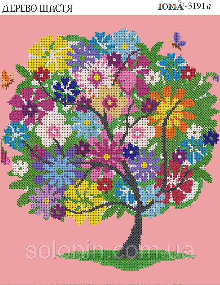 """Схема вышивки крюил """"Дерево счастья&quot 88"""
