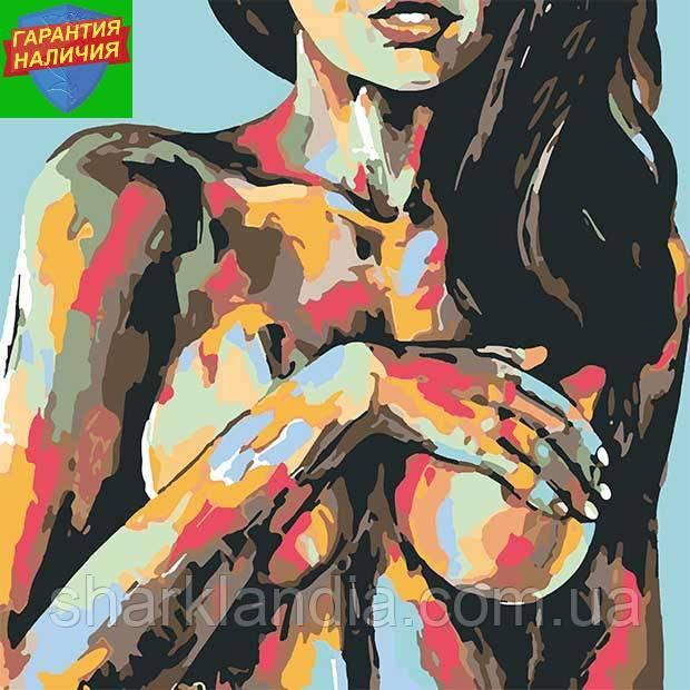 Картина по номерам Красочная красота девушки +ЛАК 40*40см Барви Топлес Ню
