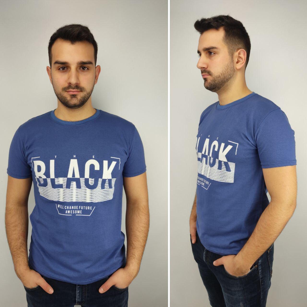 Мужская футболка батал, пр-ва Турция, BLACK, джинс
