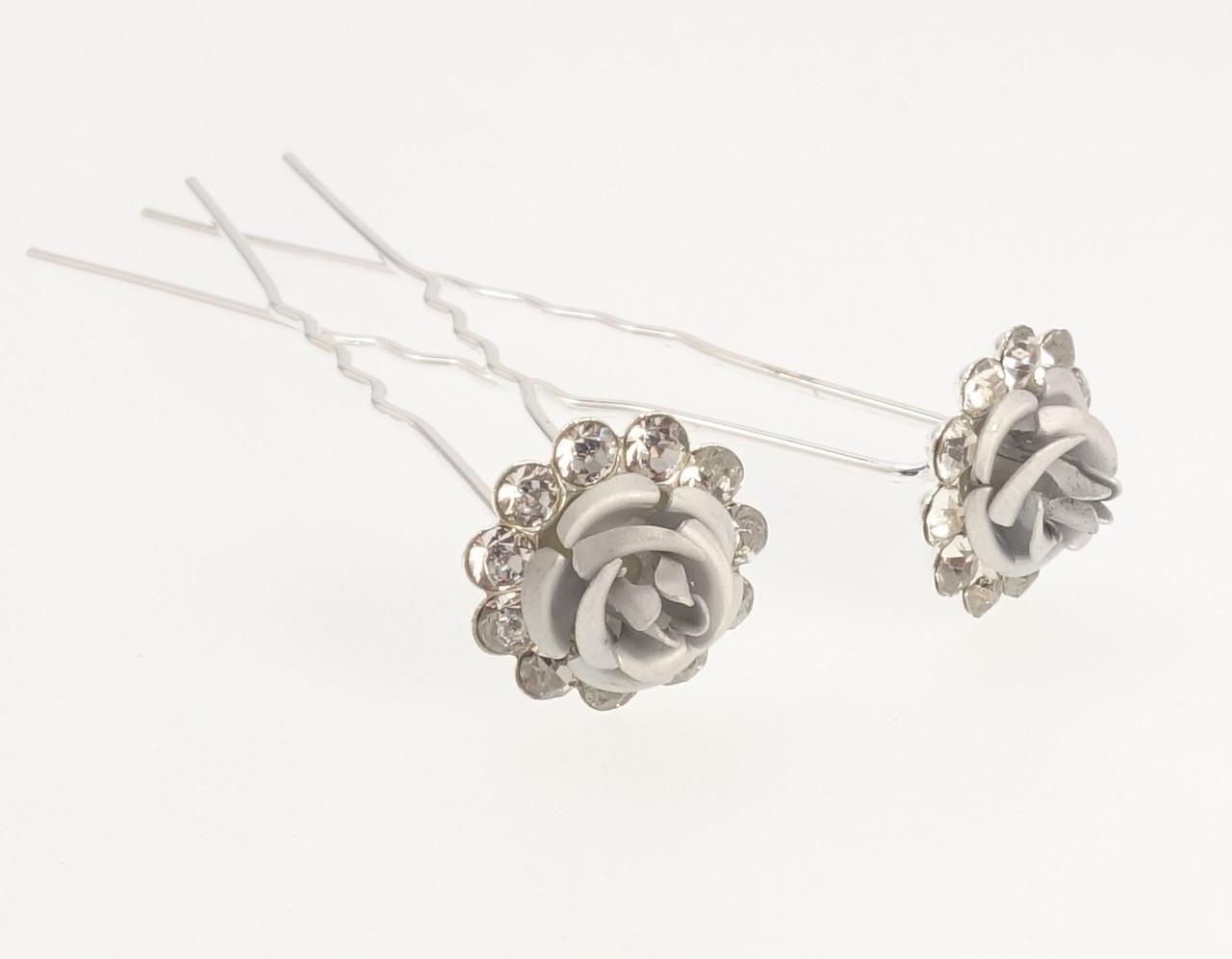 """Шпилька для волос """"Серебряная роза в обрамлении страз"""" ø 14мм (цена за одну штуку)"""