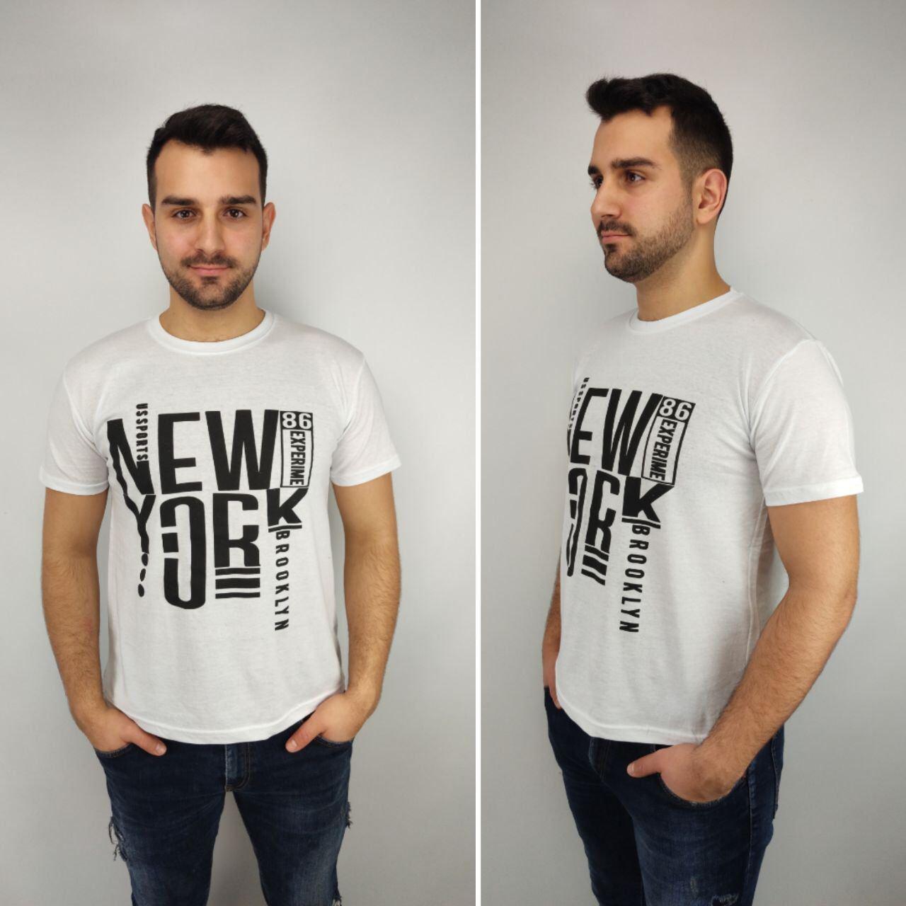 Мужская футболка батал 52-58рр, NEW YORK, белый