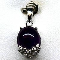 Срібний кулон з природним аметистом, фото 1