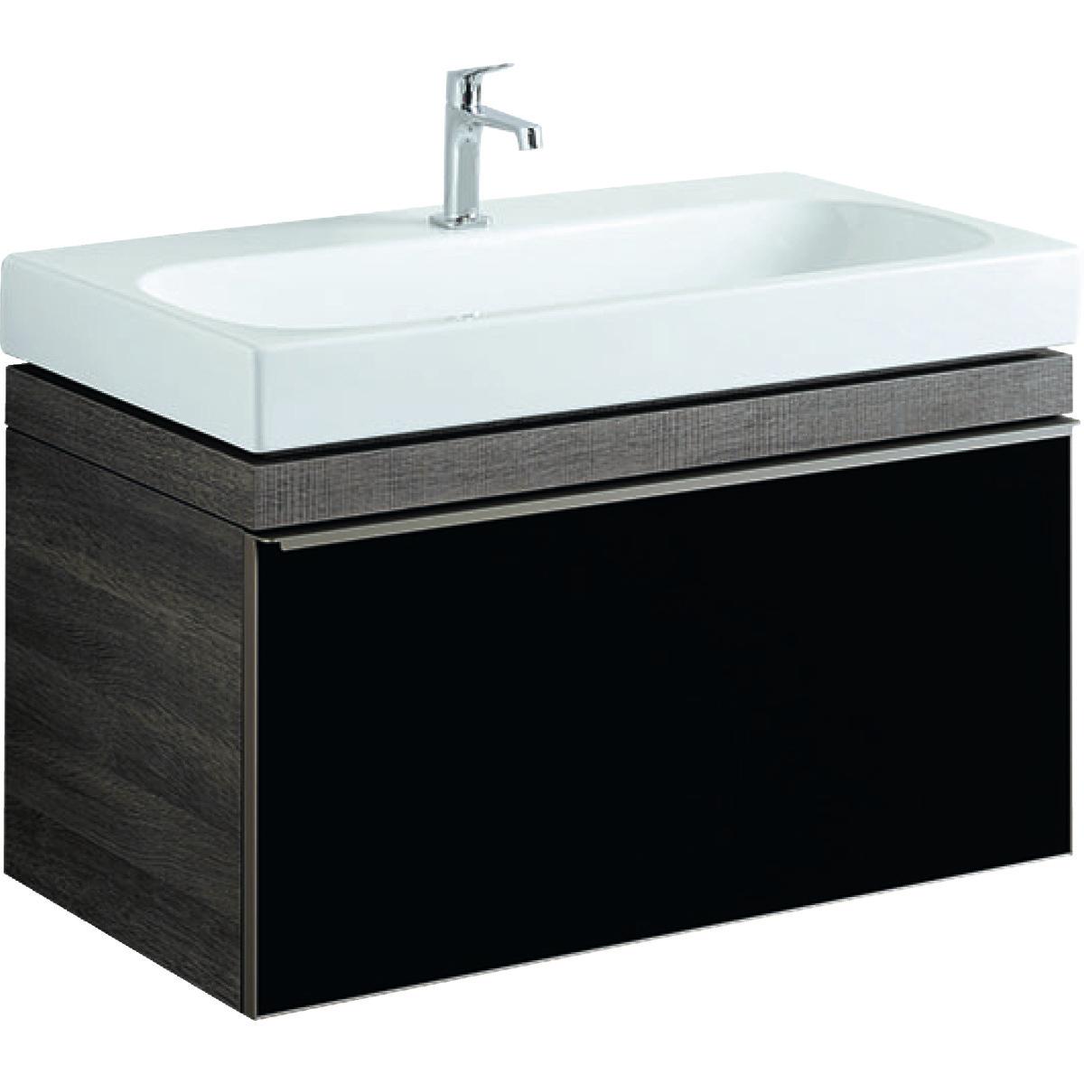 Тумба для раковини Geberit Citterio 90 см, 1 висувний ящик, сіро-коричневий, фасад скло-панель чорний