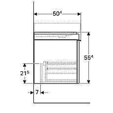 Тумба для раковини Geberit Citterio 90 см, 1 висувний ящик, сіро-коричневий, фасад скло-панель чорний, фото 2