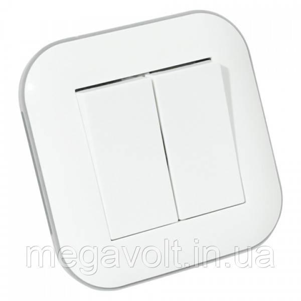 Выключатель 2-клавишный LOFT белый+серый