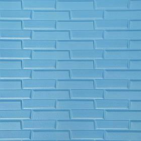 Новинка! 3Д панели самоклеющиеся для стен под кирпич рельефный Голубой, 7 мм