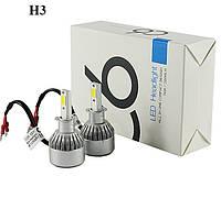 Комплект LED ламп для авто Ближний/Дальний Headlight C6 H3, светодиодные лампы в авто, передний свет