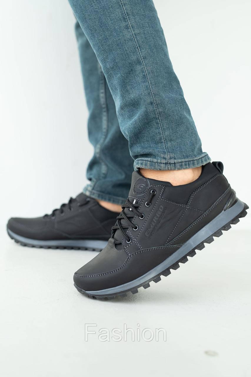 Мужские кроссовки кожаные весна/осень черные Anser 95 Emirro