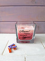 Ароматична свічка з написом з ароматом троянди