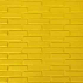 Новинка! 3Д панели самоклеющиеся для стен под кирпич рельефный Желтый, 7 мм