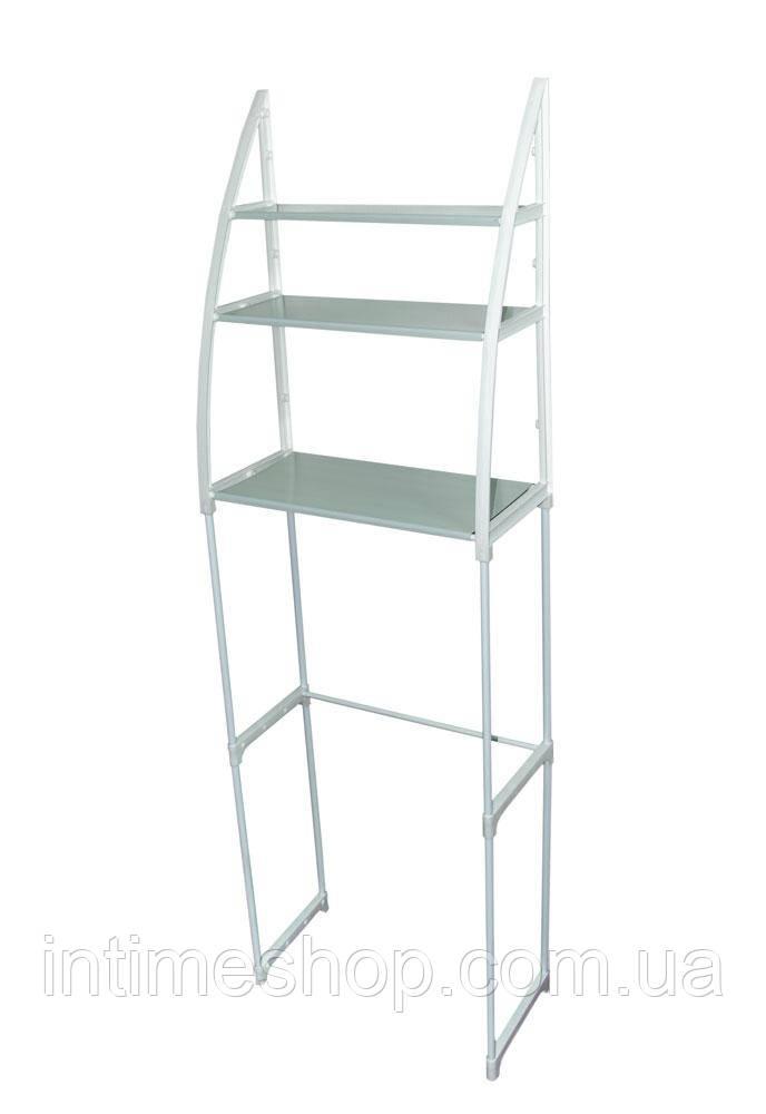 Полка в туалет пластик/металл белая высота 150 см., этажерка над унитазом   стелаж над унітазом (TI)