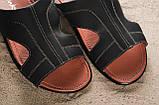 Мужские шлепанцы кожаные летние синие Yuves Z5, фото 3