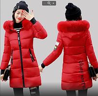 Женская зимняя куртка пуховик принт Disney с капюшоном манжетами декоративный съёмный мех р.48-50