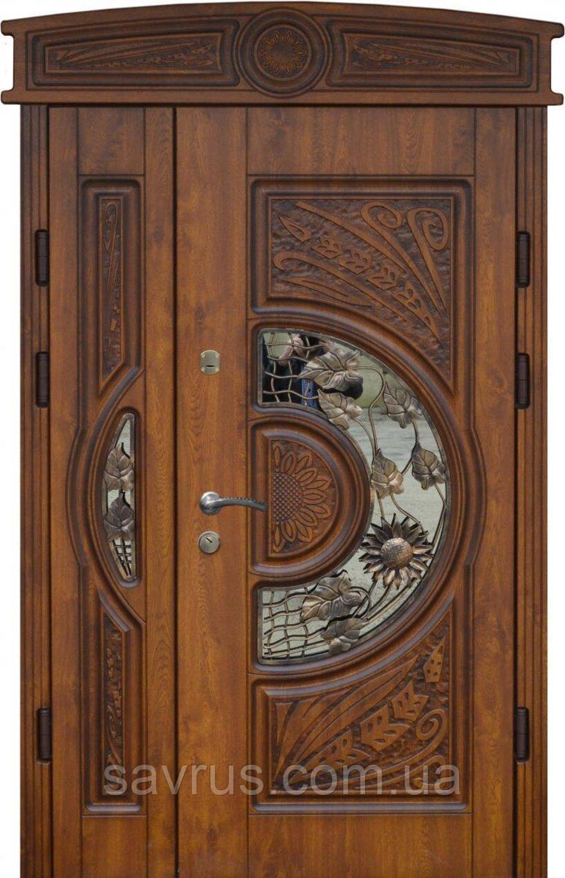Двері Стандарт 1,20*2,15  мал. 24  R ПВХ-90 + нерж. + кале серц. лиштва 3 полоски + ручка