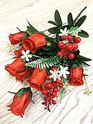 Искусственная Роза . Букет роз с добавками ( 58 см)