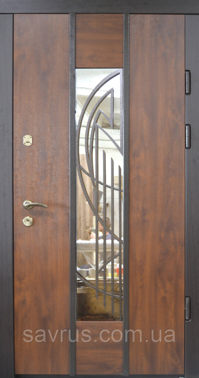 Двері  97  TS №20-08  ззовні горіх темний, зсередини ПВХ-02 L (лиштва + ручка)