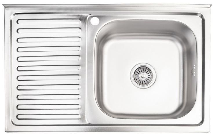 Кухонні мийки Lidz Кухонна мийка з нержавіючої сталі Lidz 5080-R 0.8 мм Decor