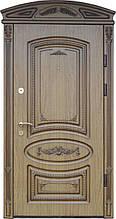 Двері Комфорт 97 мал. 86 горіх тиснений  R (лиштва + ручка + карниз)