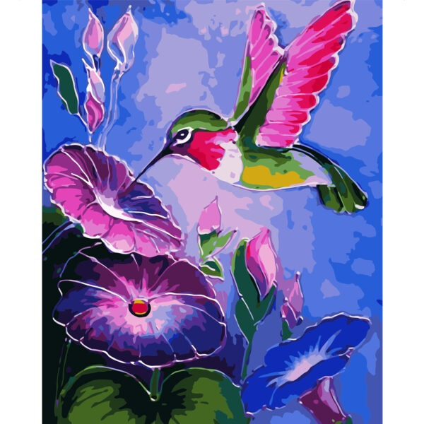 "Набор для росписи по номерам  ""Яркий колибри"", размером 40х50 см"