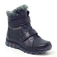 Зимние подростковые кожаные ботинки на меху на липучках