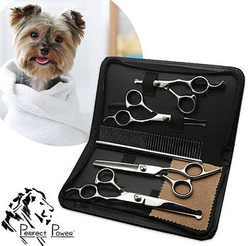 Набор ножниц для груминга собак и кошек 5в1 Ножницы для ухода за домашними животными Perfect Power