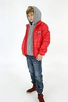 Модная весенняя осенняя курточка на мальчика с трикотажным капюшоном, 9 расцветок, р-ры 140-170