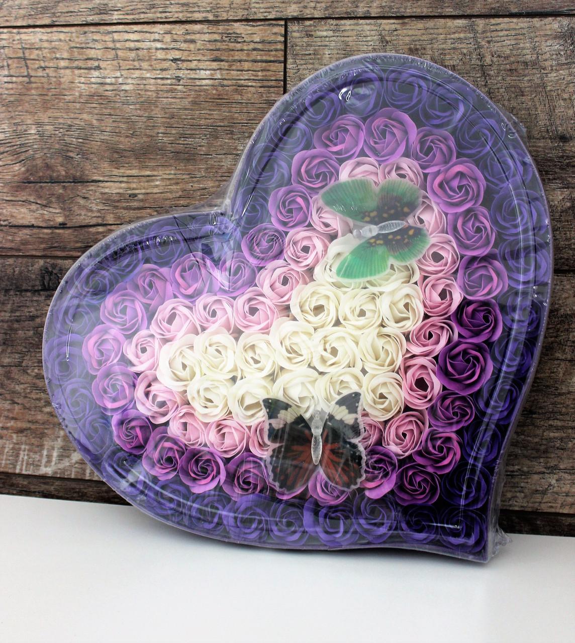 Подарочный набор мыло из роз c бабочками