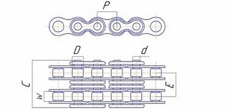 Ланцюг приводу понижуючого редуктора 17 ланок — 168F