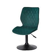 Изумрудный барный стул на черном блине, бархатная обивка Toni BK - Base - стильный стул в стильный интерьер
