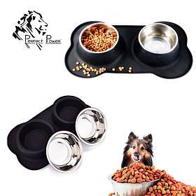 Миски для собак съемные на силиконовом коврике подставке Набор для животных 2 шт из нержавейки 14х7см Размер L