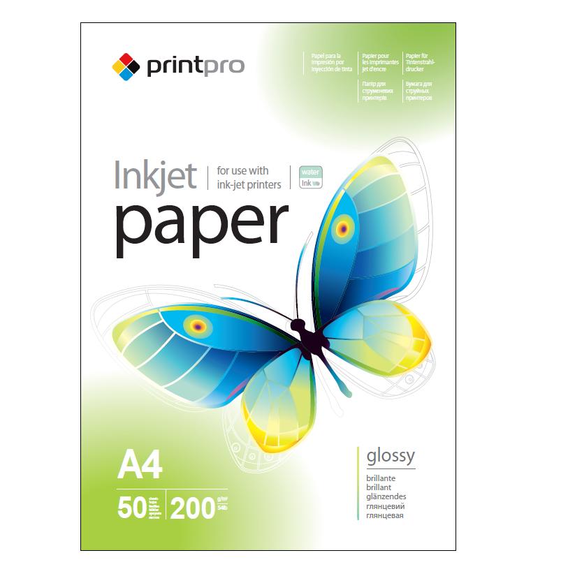 Фотобумага PrintPro, глянцевая, A4, 200 г/м², 100 л (PGE200100A4)