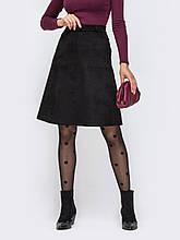 Замшевая юбка-трапеция с карманами