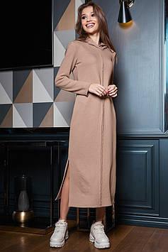 Прямое платье миди с разрезами из трикотажа трехнитка цвет: кофе