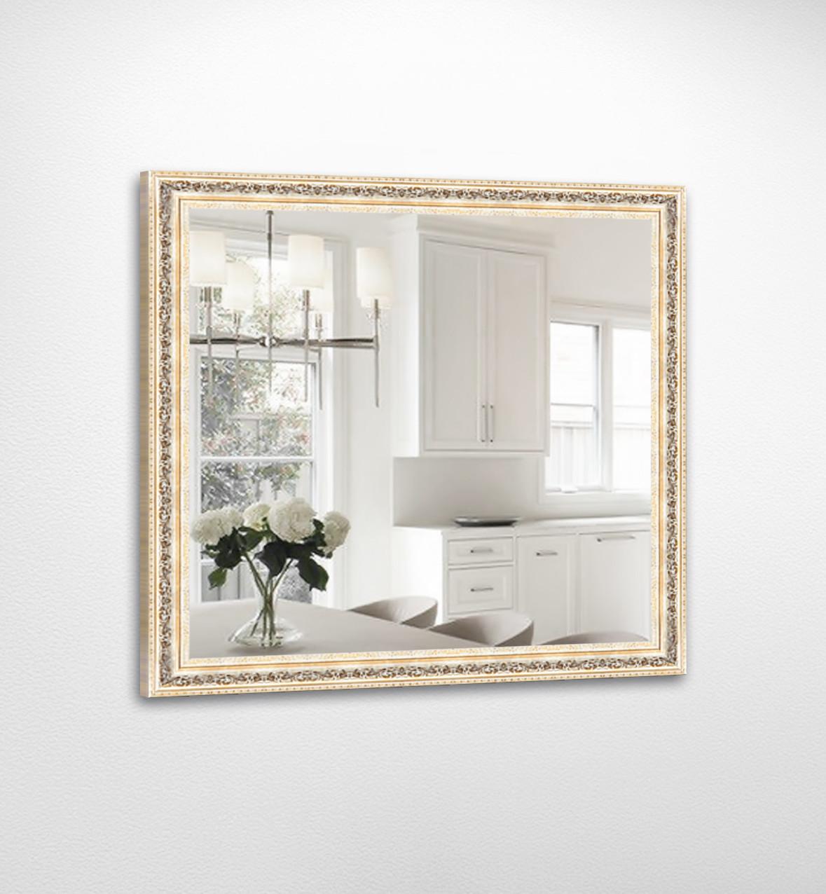 Настенное зеркало БЦ Стол Джулия квадратное B02 золотое