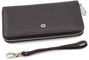 Большой кожаный кошелек черного цвета на молнии ST Leather (16406)