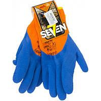 """Рукавиці утеплені """"Seven"""" помаранчеві з синім спіненим латексним покриттям №69346"""