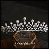 Акуратна тіара з перлинками та фіанітами (4см), фото 3
