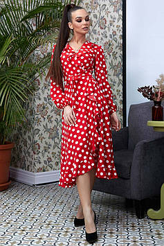Ассиметричное платье на запах с расклешенной юбкой с воланами цвет: красный с белым горохом