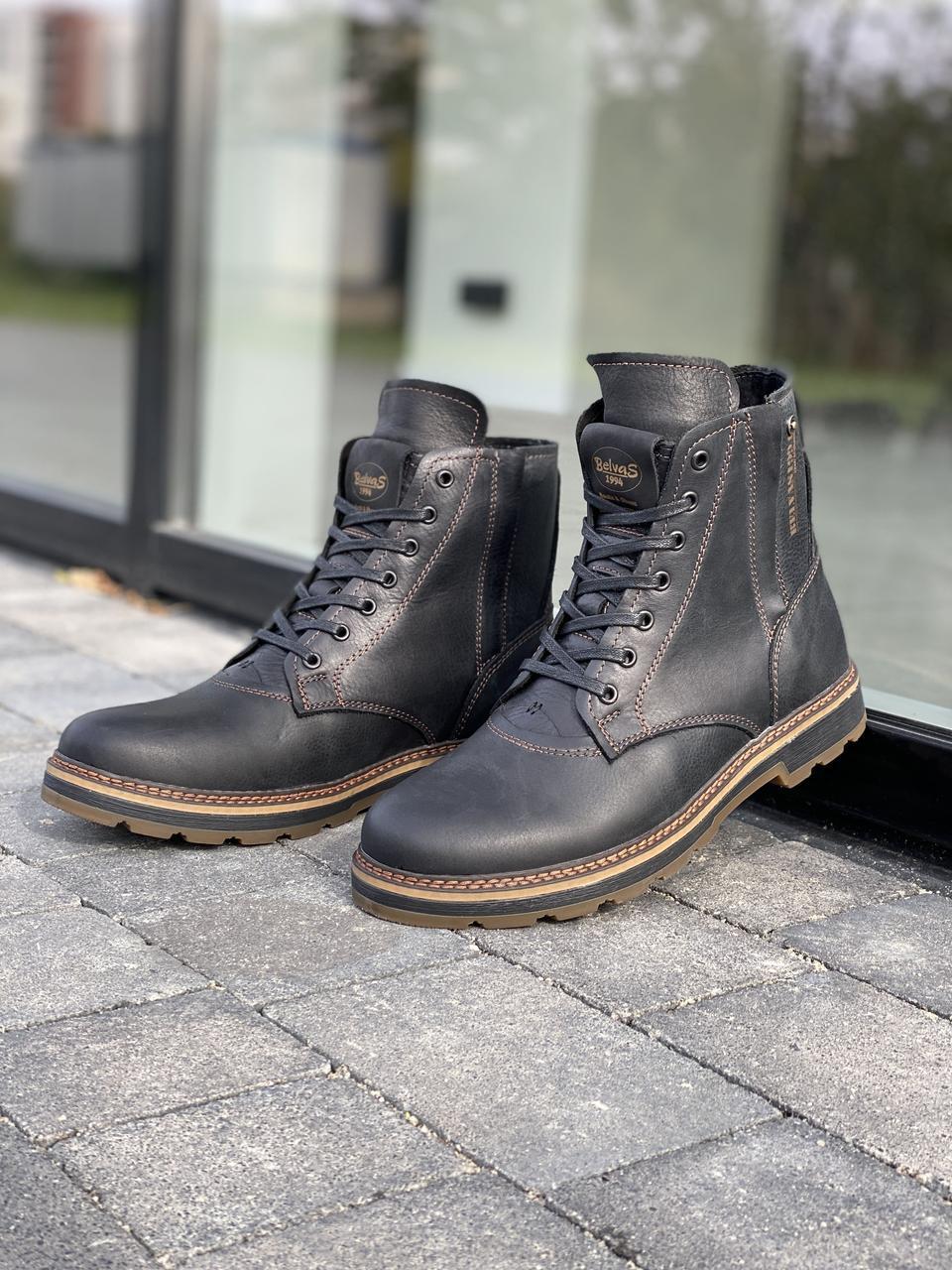 Чоловічі черевики шкіряні зимові чорні Belvas 5507